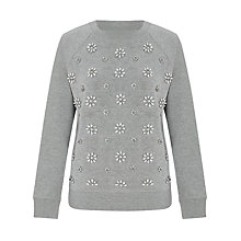 Buy Collection WEEKEND by John Lewis Floral Beaded Sweatshirt, Grey Melange Online at johnlewis.com