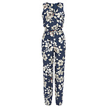 Buy Warehouse Floral Print Jumpsuit, Blue Online at johnlewis.com