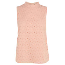 Buy Oasis High Neck Broderie Top Online at johnlewis.com