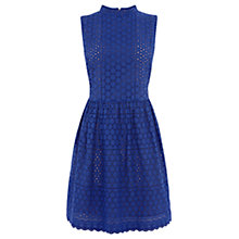 Buy Oasis Broderie High Neck Dress. Rich Blue Online at johnlewis.com