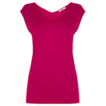 Buy Oasis Clean V-Neck T-Shirt, Deep Pink Online at johnlewis.com