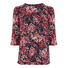 Buy Warehouse Texture Floral Elbow Sleeve Top, Pink Pattern Online at johnlewis.com