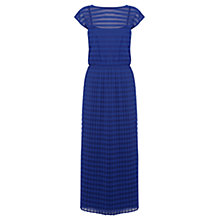 Buy Warehouse Stripe Plisse Midi Dress, Bright Blue Online at johnlewis.com
