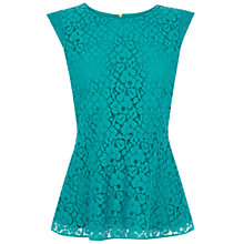 Buy Oasis Lace Peplum Top, Pale Green Online at johnlewis.com