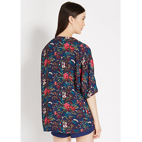 Buy Oasis Tropical Forest Kimono Jacket, Multi Blue Online at johnlewis.com