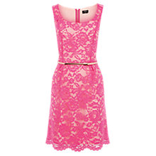 Buy Oasis Ria Lace Lantern Dress, Pink Online at johnlewis.com