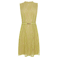 Buy Oasis Lace Adonia High Neck Dress, Mid Yellow Online at johnlewis.com