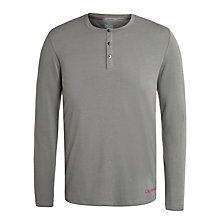 Buy Calvin Klein Henley Logo Lounge Top, Grey Online at johnlewis.com