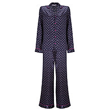 Buy John Lewis Satin Feathered Dot Pyjama & Eye Mask Gift Set, Navy Online at johnlewis.com