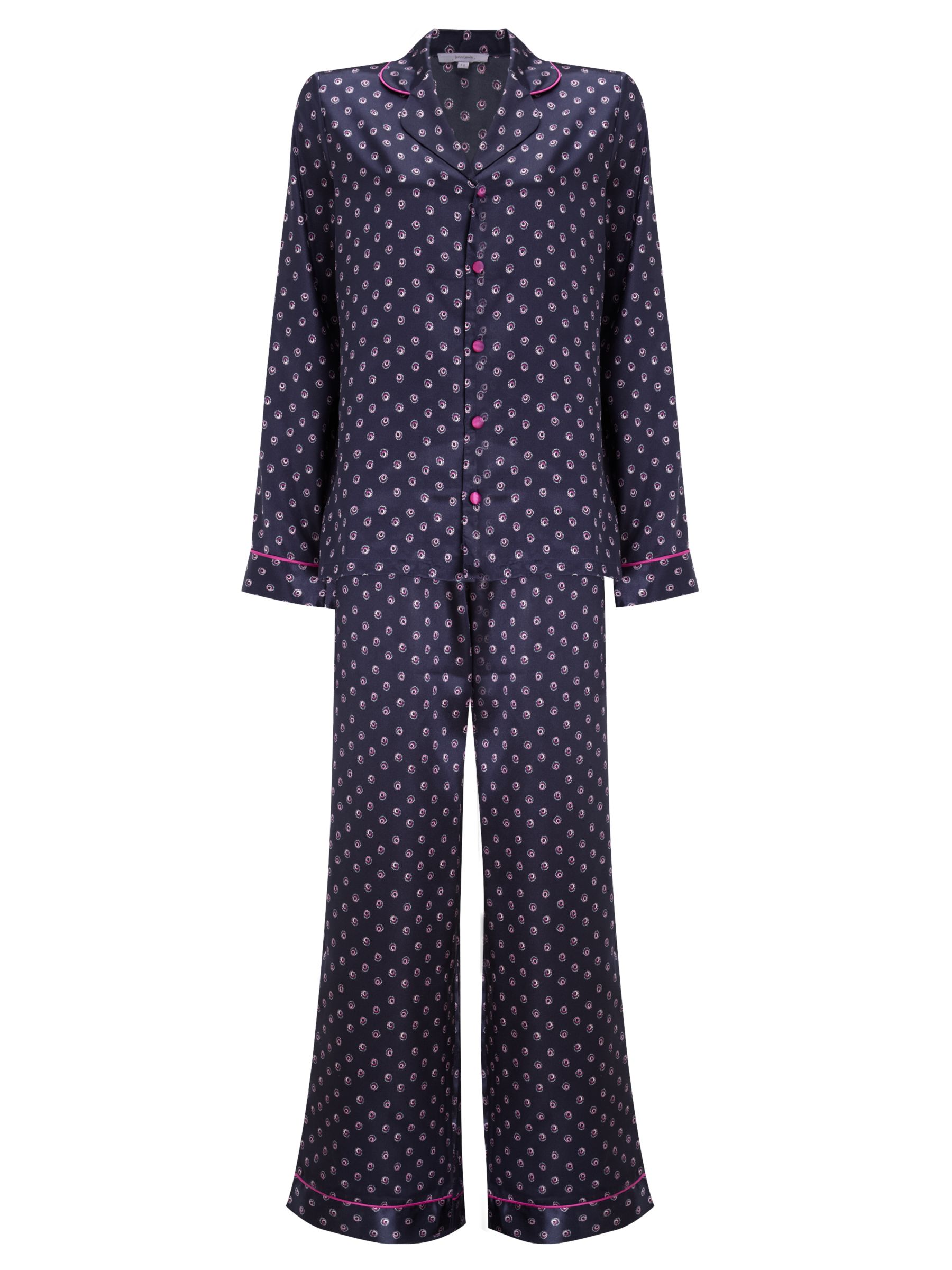John Lewis Feathered Dot Pyjama Gift Set, Navy