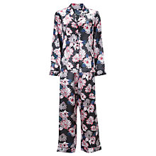 Buy John Lewis Natalia Satin Floral Print Pyjama & Eye Mask Gift Set, Grey / Pink Online at johnlewis.com