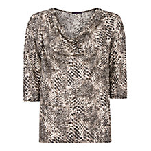 Buy Violeta by Mango Crocodile Linen T-Shirt, Dark Grey Online at johnlewis.com