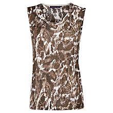Buy Violeta by Mango Linen Blend Printed Top, Brown Online at johnlewis.com