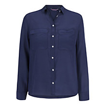 Buy Violeta by Mango Silk Blouse, Navy Online at johnlewis.com