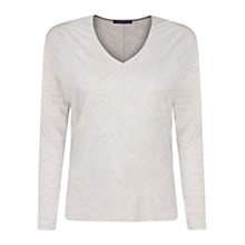 Buy Violeta by Mango Trimmed Neckline Top, Light Grey Online at johnlewis.com