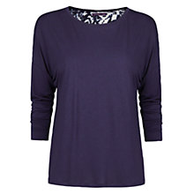 Buy Violeta by Mango Floral Back T-Shirt, Navy Online at johnlewis.com