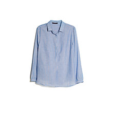 Buy Violeta by Mango Striped Cotton Shirt, Light Pastel Blue Online at johnlewis.com