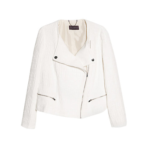 Buy Violeta by Mango Zipped Fantasy Jacket, White Online at johnlewis.com