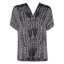 Buy Violeta by Mango Monochrome Print Top, Black Online at johnlewis.com