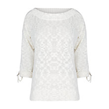 Buy Violeta by Mango Slub Cotton-Blend Jumper, Natural White Online at johnlewis.com
