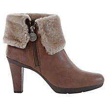 Buy Geox Inspiration Leather Faux Fur Ankle Shoe Boots, Taupe Online at johnlewis.com