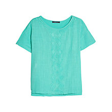 Buy Violeta by Mango Embroidery Detail Cotton T-Shirt Online at johnlewis.com