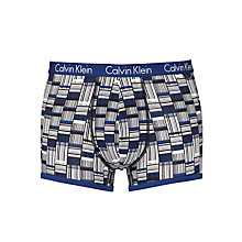 Buy Calvin Klein CK One Grid Print Cotton Trunks, Blue Online at johnlewis.com