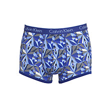 Buy Calvin Klein Underwear CK One Brocade Print Cotton Trunks, Blue/Grey Online at johnlewis.com