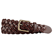 Buy Polo Ralph Lauren Woven Leather Belt, Brown Online at johnlewis.com