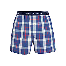 Buy Polo Ralph Lauren Woven Check Boxers, Blue Online at johnlewis.com