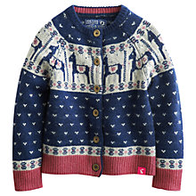 Buy Little Joule Girls' Horse Fair Isle Cardigan, Blue/White Online at johnlewis.com