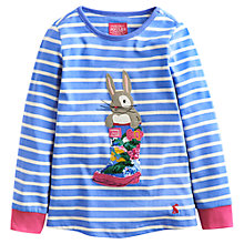 Buy Little Joule Girls' Ava Bunny Long Sleeve Stipe Top, Cornflower Blue Online at johnlewis.com