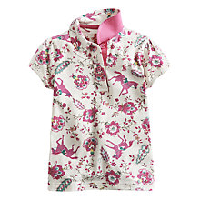 Buy Little Joule Girls' Lena Floral Horse Polo Shirt, Cream/Pink Online at johnlewis.com