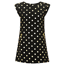 Buy Yumi Girl Polka Dot Foil Dress, Black/Gold Online at johnlewis.com