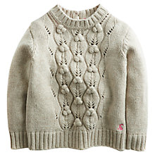 Buy Little Joule Girls' Avelyn Cable Jumper, Cream Online at johnlewis.com