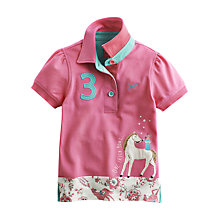 Buy Little Joule Girls' Moxie Horse Pique Polo Shirt, Pink Online at johnlewis.com