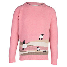 Buy Barbour Girls' Moffat Lambswool Jumper, Pink Online at johnlewis.com