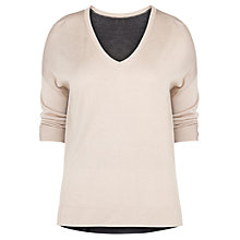 Buy Violeta by Mango Bicolour Jumper, Light Beige Online at johnlewis.com