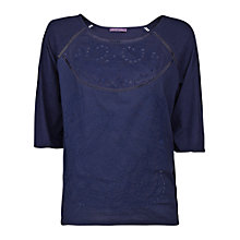 Buy Violeta by Mango Broderie Anglaise T-Shirt, Navy Online at johnlewis.com
