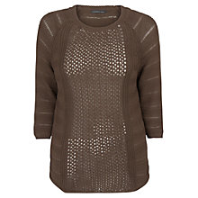 Buy Violeta by Mango Textured Cotton Jumper, Light Brown Online at johnlewis.com