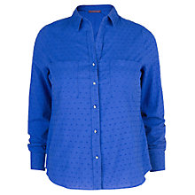 Buy Violeta by Mango Plumeti Shirt, Dark Blue Online at johnlewis.com