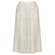 Buy Jigsaw Ornate Embroidery Pleated Skirt, Cream Online at johnlewis.com