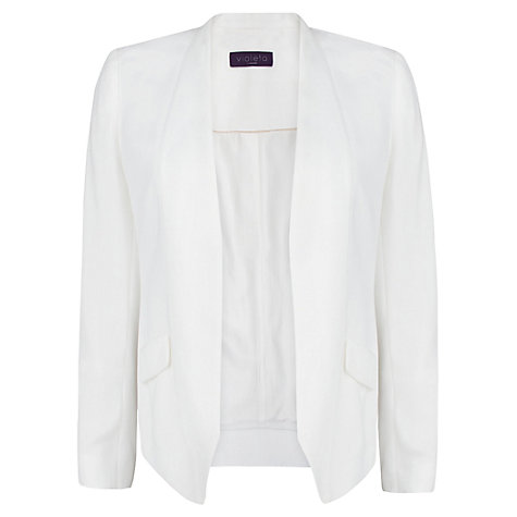 Buy Violeta by Mango Crepe Blazer, Natural White Online at johnlewis.com