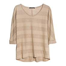 Buy Violeta by Mango Stripe Linen Blend T-Shirt, Beige Online at johnlewis.com