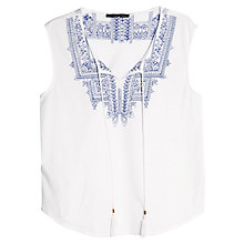 Buy Violeta by Mango Geometric Embroidery Blouse, White/Blue Online at johnlewis.com