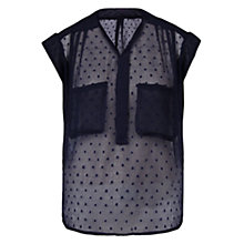 Buy Violeta by Mango Plumeti Blouse, Navy Online at johnlewis.com