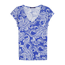 Buy Violeta by Mango Paisley T-Shirt, Bright Blue Online at johnlewis.com