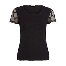 Buy Planet Circle Lace Jersey Top, Black Online at johnlewis.com