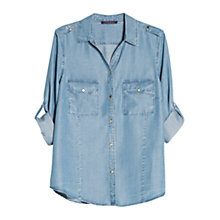 Buy Violeta by Mango Soft Tencel Shirt, Medium Blue Online at johnlewis.com