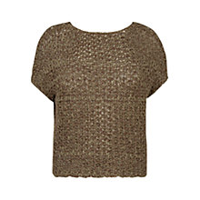 Buy Violeta by Mango Open-Knit Top, Khaki Online at johnlewis.com